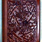 Oak leaves hand tooled pattern leather cover